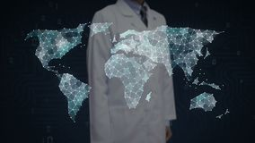 科学家,接触小点的工程师聚集创造全球性世界地图,事互联网  财政技术 向量例证
