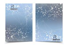 科学小册子设计模板 导航飞行物布局、分子结构与被连接的线和小点 科学 库存例证