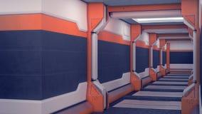 科学幻想小说内部太空飞船 有橙色射线的白色未来派墙壁 有光的太空飞船走廊 3d例证 库存例证