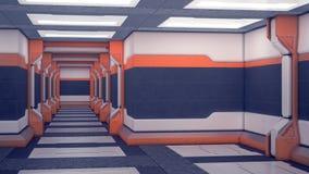 科学幻想小说内部航天器 与橙色口音的白色未来派盘区 有光的太空飞船走廊 3d例证 皇族释放例证