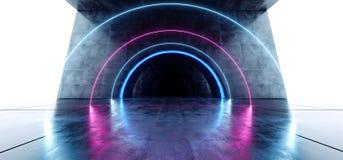 科学幻想小说圈子氖发光的充满活力的激光真正光紫色蓝色萤光在具体难看的东西地下隧道白色 向量例证