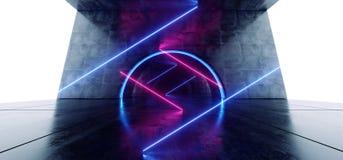 科学幻想小说圈子氖发光的充满活力的激光真正光紫色蓝色萤光在具体难看的东西地下隧道白色 库存例证