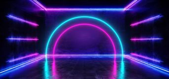 科学幻想小说弧霓虹未来派紫色蓝色冷的俱乐部阶段室霍尔展示充满活力虚拟现实激光被带领的光发光 皇族释放例证
