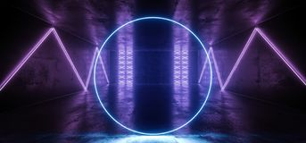 科学幻想小说未来派圈子氖带领了蓝色发光的阶段指挥台点燃的激光发光的现代典雅的空的黑暗的充满活力的紫色 皇族释放例证