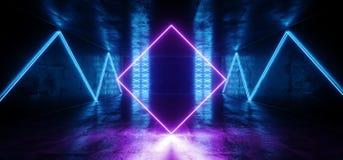科学幻想小说未来派氖带领了蓝色发光的阶段指挥台在反射性点燃的激光发光的现代典雅的空的黑暗的充满活力的紫色 库存例证