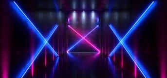 科学幻想小说未来派激光霍尔霓虹隧道道路轨道门入口聚光X塑造画廊的发光的紫色蓝色充满活力的颜色 皇族释放例证