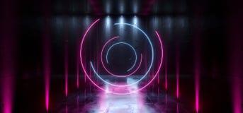科学幻想小说未来派激光霍尔霓虹隧道道路轨道门入口聚光X塑造画廊的发光的紫色蓝色充满活力的颜色 向量例证