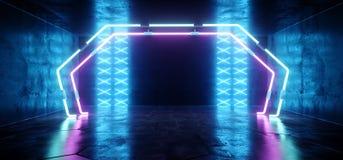 科学幻想小说未来派霓虹门带领了蓝色发光的阶段指挥台点燃的激光发光的现代典雅的空的黑暗的充满活力的紫色 库存例证
