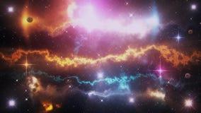 科学幻想小说空间行星、星云、星&光线使背景成环 股票视频