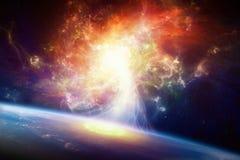 科学幻想小说背景-旋涡星云和行星地球 库存照片