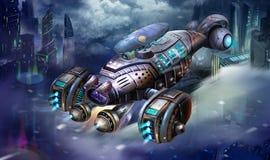 科学幻想小说航空器、虾太空飞船,科幻航天器和城市场面与意想不到,现实和未来派样式 库存例证