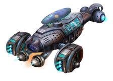 科学幻想小说航空器,虾太空飞船,在白色有意想不到,现实和未来派样式的科幻航天器隔绝的 向量例证