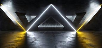 科学幻想小说萤光充满活力的三角塑造了在巨大的黑暗的水泥混凝土难看的东西地下的霓虹发光的橙色白光 向量例证