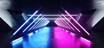 科学幻想小说萤光充满活力的三角塑造了在巨大的黑暗的水泥混凝土难看的东西地下的霓虹发光的紫色蓝色桃红色光 向量例证