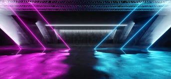 科学幻想小说萤光充满活力的三角塑造了在巨大的黑暗的水泥混凝土难看的东西地下的霓虹发光的紫色蓝色桃红色光 皇族释放例证