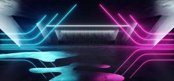 科学幻想小说萤光充满活力的三角塑造了在巨大的黑暗的水泥混凝土难看的东西地下的霓虹发光的紫色蓝色桃红色光 库存例证