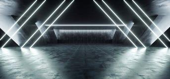 科学幻想小说萤光充满活力的三角塑造了在巨大的黑暗的水泥混凝土难看的东西地下车库的霓虹发光的蓝色白光 皇族释放例证