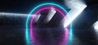 科学幻想小说萤光充满活力的圈子塑造了在巨大的黑暗的水泥混凝土难看的东西地下的霓虹发光的紫色蓝色桃红色光 向量例证