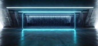 科学幻想小说萤光充满活力的长方形塑造了在巨大的黑暗的水泥混凝土难看的东西地下车库的霓虹发光的蓝色光 皇族释放例证