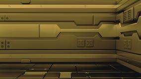 科学幻想小说难看的东西金属走廊背景3d回报 库存例证