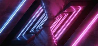 科学幻想小说霓虹发光的充满活力的紫色蓝色激光萤光空心的光典雅现代在反射性具体难看的东西铺磁砖了 向量例证