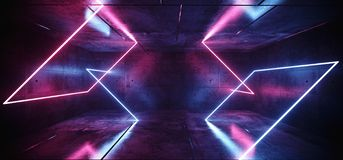 科学幻想小说霓虹摘要紫色蓝色桃红色发光的长方形管在黑暗的空的难看的东西混凝土室背景中塑造激光 库存例证