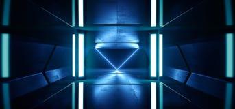 科学幻想小说霓虹灯未来派发光的蓝色激光夜展示隧道走廊反射性具体外籍人太空飞船塑造黑暗 向量例证
