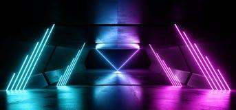 科学幻想小说霓虹灯未来派发光的蓝色紫色激光夜展示隧道走廊反射性具体外籍人太空飞船塑造黑暗 库存例证