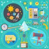 科学技术的平的设计观念 科学研究,化工实验infographics构思设计,网 皇族释放例证