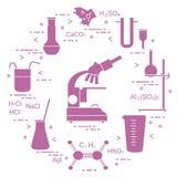 科学的化学,教育元素:显微镜,烧瓶,三脚架,惯例,烧杯,变形虫细胞,量杯,漏斗,U形 库存例证