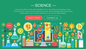 科学的平的设计观念 与科学家实验室工作场所的水平的横幅 科学研究实验 库存例证