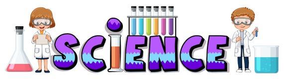 科学的词设计与烧杯 皇族释放例证