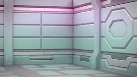 科学背景小说内部室科学幻想小说太空飞船走廊桔子,3D翻译 皇族释放例证