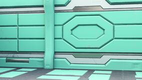 科学背景小说内部室科学幻想小说太空飞船走廊桔子,3D翻译 向量例证