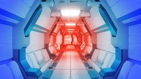 科学背景小说内部翻译科学幻想小说太空飞船走廊,3D翻译 向量例证