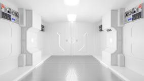 科学膝部,科学幻想小说走廊白色颜色 图库摄影