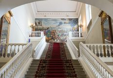 科学院,圣彼德堡的主要楼梯 库存照片