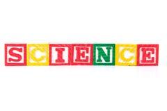 科学-字母表在白色的婴孩块 图库摄影
