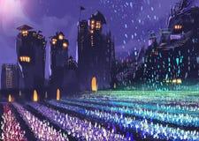 科学幻想小说农场在晚上 免版税库存图片
