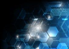 科学幻想小说技术摘要背景,未来派多角形黑暗 免版税库存图片