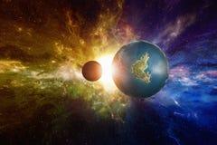 科学幻想小说背景-被发现的类似地球潜在地适合居住 免版税库存照片