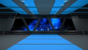 科学幻想小说走廊室内设计 3d 免版税库存图片