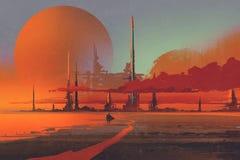 科学幻想小说contruction在沙漠 库存例证