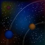 科学幻想小说Ui一个美好的可笑的满天星斗的空间风景的比赛例证的空间背景与外籍人月亮,小行星的 免版税库存图片