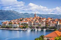 科尔丘拉镇的看法,科尔丘拉海岛,达尔马提亚,克罗地亚 免版税库存照片