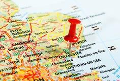 科尔切斯特英国地图别针 库存照片