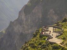 科尔卡峡谷观点,秘鲁。 免版税库存照片