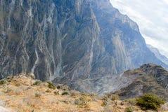 科尔卡峡谷,秘鲁全景 免版税库存照片