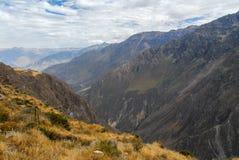 科尔卡峡谷,秘鲁全景 免版税图库摄影