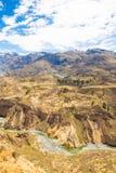 科尔卡峡谷,秘鲁,南美 建立种田的印加人与池塘和峭壁的大阳台 其中一个在世界的最深的峡谷 免版税图库摄影